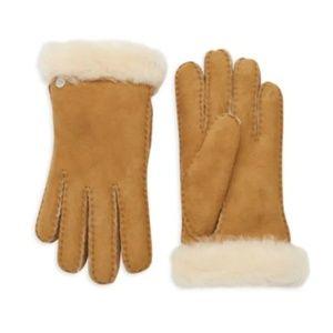Ugg Shearling & Sheepskin Gloves in Chestnut  L